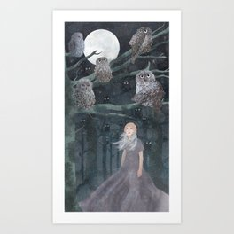Girl with the owles Art Print