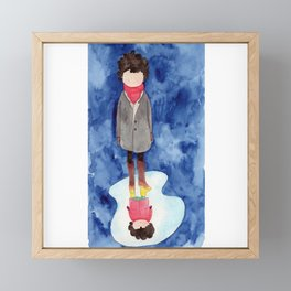 Upside down, back to childhood | watercolor children art Framed Mini Art Print