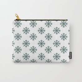 Snowflakes (Dark Green & White Pattern) Carry-All Pouch
