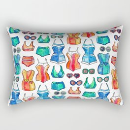 Sixties Swimsuits and Sunnies on white Rectangular Pillow