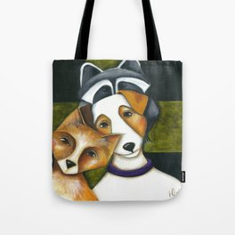 Dog Fox Raccoon Forest Friends Jack Russell Terrier Original art by Deb Harvey Tote Bag