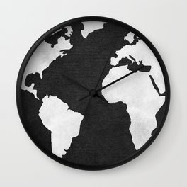 Earth Map Dark Gray and White Continents Wall Clock