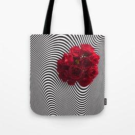 Op Art Red Roses Tote Bag
