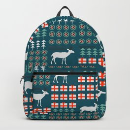Cheerful Christmas pattern with deer Backpack