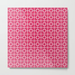 Cerise Pink Square Chain Pattern Metal Print