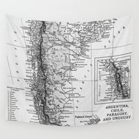 argentina Wall Tapestries featuring Vintage Map of Argentina (1911) by BravuraMedia