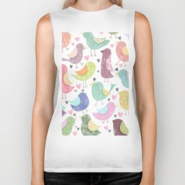 Cute Birdies Pattern Biker Tank