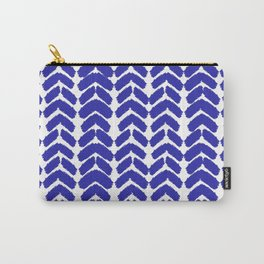 Hand-Drawn Herringbone (Navy Blue & White Pattern) Carry-All Pouch