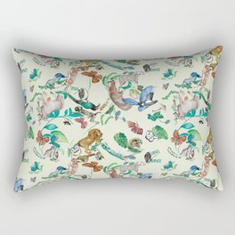 illustrations of wild animals and plants with light background Rectangular Pillow