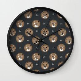 Lion cute pattern nursery kids geometric triangle animal safari Wall Clock