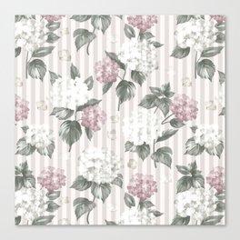 Bohemian pastel pink green floral stripes pattern Canvas Print