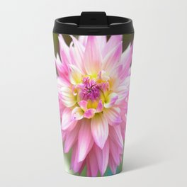 Pink Dahlia Flower Travel Mug