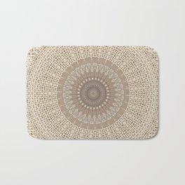 Unique Texture Taupe Burlap Mandala Design Bath Mat