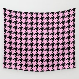 Houndstooth (Black & Pink Pattern) Wall Tapestry