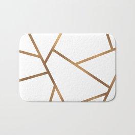 White and Gold Fragments - Geometric Design Bath Mat