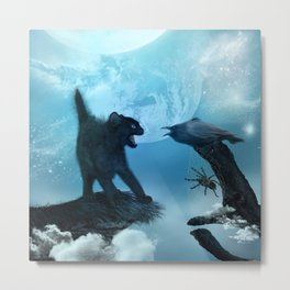 The cat and the crow in the night. Metal Print