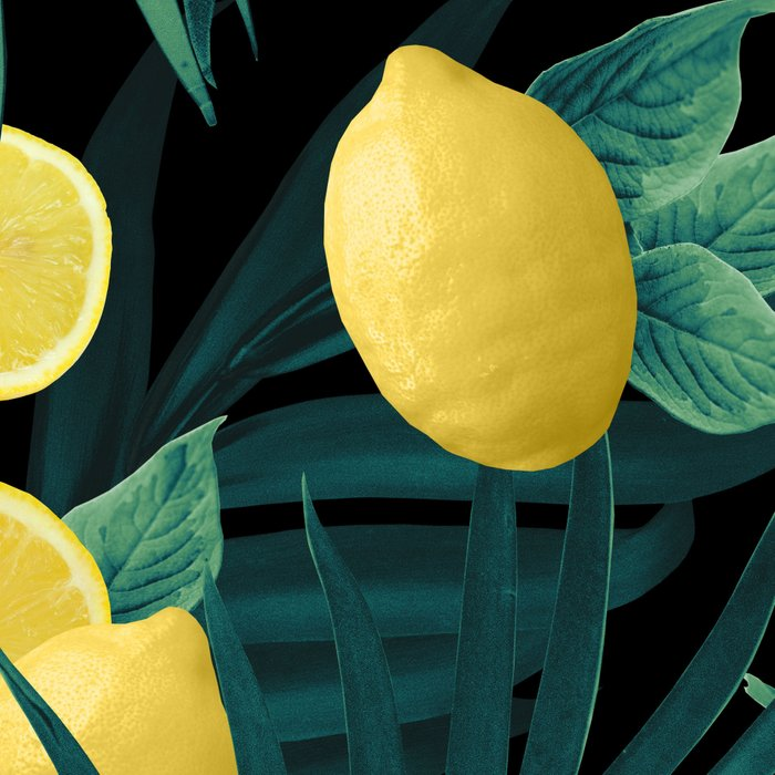 Summer Lemon Twist Jungle Night #1 #tropical #decor #art #society6 Leggings