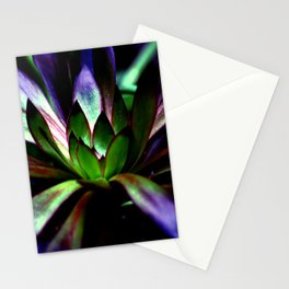 Purple and Green Leaves Stationery Cards