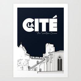 Cité de Carcassonne - Place Saint Nazaire Art Print