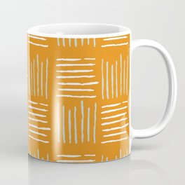 Textile lines pattern on mustard Coffee Mug
