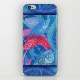 The Spawning, underwater art, pink & blue fish iPhone Skin