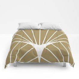 Diamond Series Round Sun Burst White on Gold Comforters