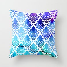 Damask in Cool Purple Throw Pillow