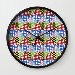 Symetric triangle 3 -vichy, gingham,strip,triangle,geometric, sober,tartan,mandala Wall Clock