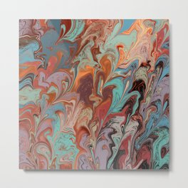 Marbled warm and tourquoise palette Metal Print