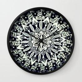 Silver Mandala on Black Background Wall Clock