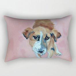A Dog in Pink Portrait Rectangular Pillow