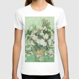 Vase With Pink Roses by Vincent Van Gogh T-shirt
