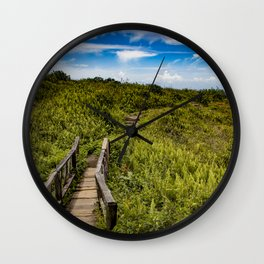 Beautiful Wooden Bridge Leading up to a Lake View on top of Mombacho Volcano, Nicaragua Wall Clock