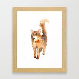 Ginger Fluffy Cat Framed Art Print