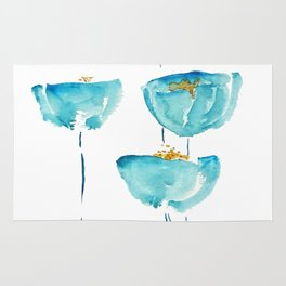 blue poppy watercolor Rug
