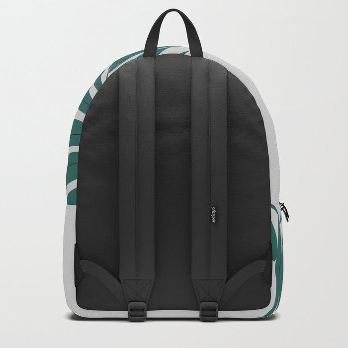 Pink and green minimalist leaf Backpack