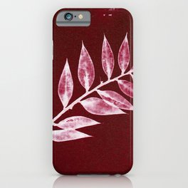 Minimal Ruscus red botanical fine art plant print / vintage cyanotype iPhone Case