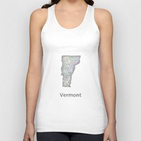 vermont Tank Tops featuring Vermont map by David Zydd