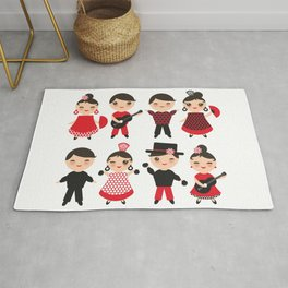 Spanish flamenco dancer. Kawaii cute face with pink cheeks and winking eyes. Gipsy Rug