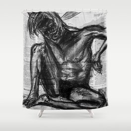 Injection - Charcoal on Newspaper Figure Drawing Shower Curtain