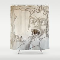 battlefield Shower Curtains featuring Commin at ya! by Mr.Burns L16