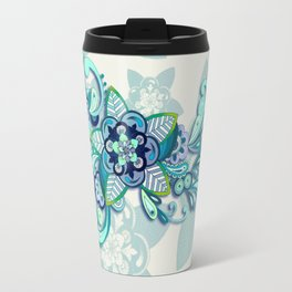 Minty Green, Purple and Navy Organic Doodle Travel Mug