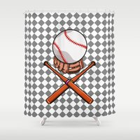 baseball Shower Curtains featuring Baseball by mailboxdisco