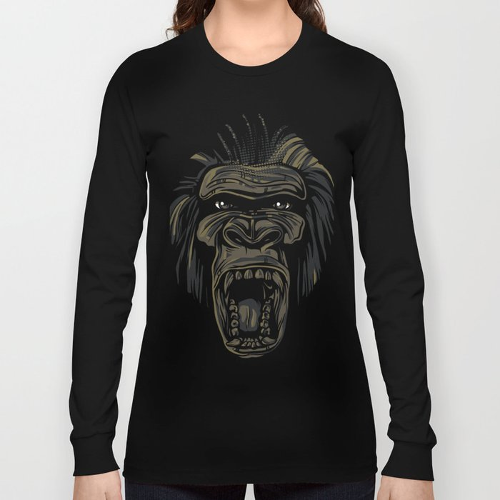 15115f15 GORILLA KING KONG Long Sleeve T-shirt by kingfuture   Society6