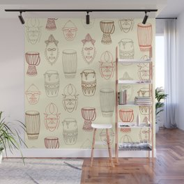 African drums and masks Wall Mural