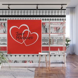 Just Married Hearts red pattern I Wall Mural
