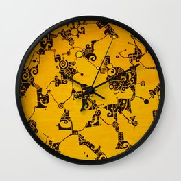 Yellow Abstract Pattern Painting Wall Clock