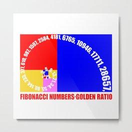 Fibonacci Numbers Typography,  Golden Ratio Metal Print