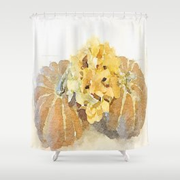 Watercolor: Hydrangeas and Pumpkins Shower Curtain