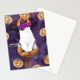 Rave Kitty Cat On Choc Cookie In Space Stationery Cards